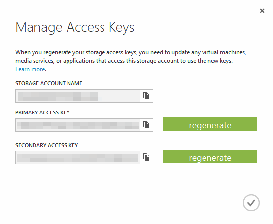 Manage Access Keys in Azure