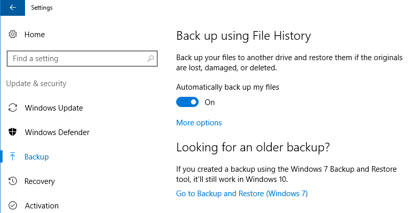 Windows configuration: Settings > Update & Security > Backup