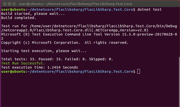 Showing that running 'dotnet test' in FlacLibSharp.Test.Core results in: 'Total tests: 33. Passed: 33. Failed: 0. Skipped: 0.'
