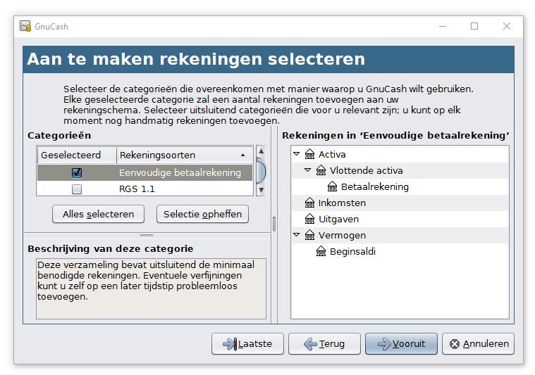 GnuCash selecteren van standaard rekeningschema