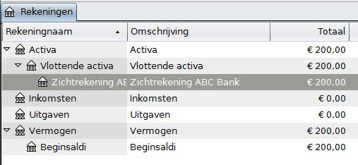 Overzicht rekeningen na het toevoegen van €200 beginsaldo