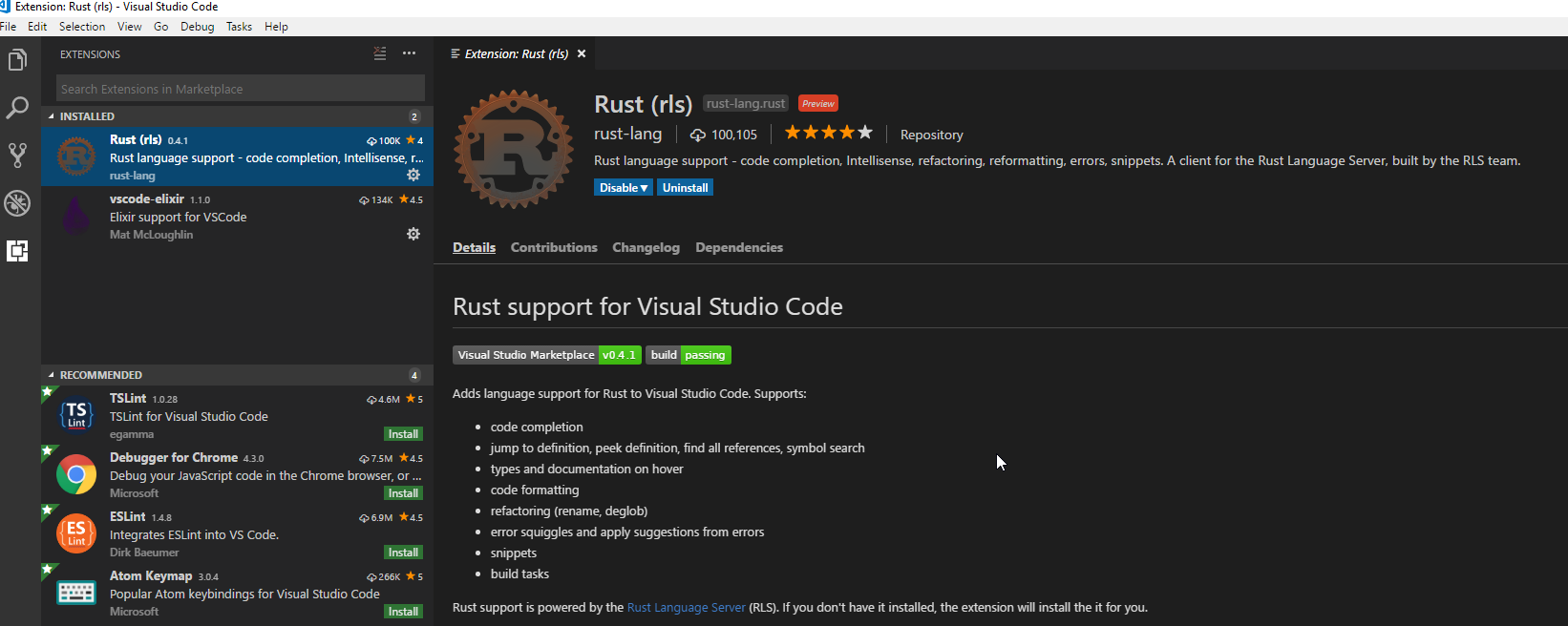 Shows the Rust extension in Visual Studio Code
