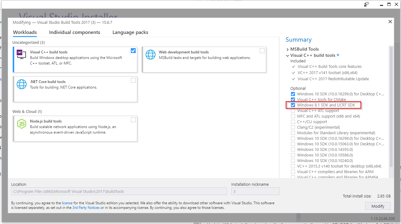 The checkbox for the Windows 8.1 SDK in the installer, which is not enabled by default