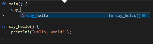 Shows Visual Studio Code's code completion in action with Rust